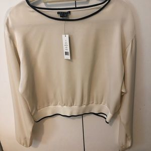 Theory cream silk blouse size small